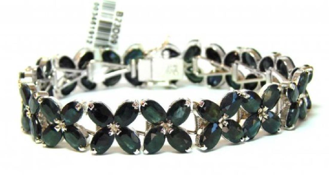 Natural Sapphire Bracelet 48.00Ct 18k W/g Overlay - 3