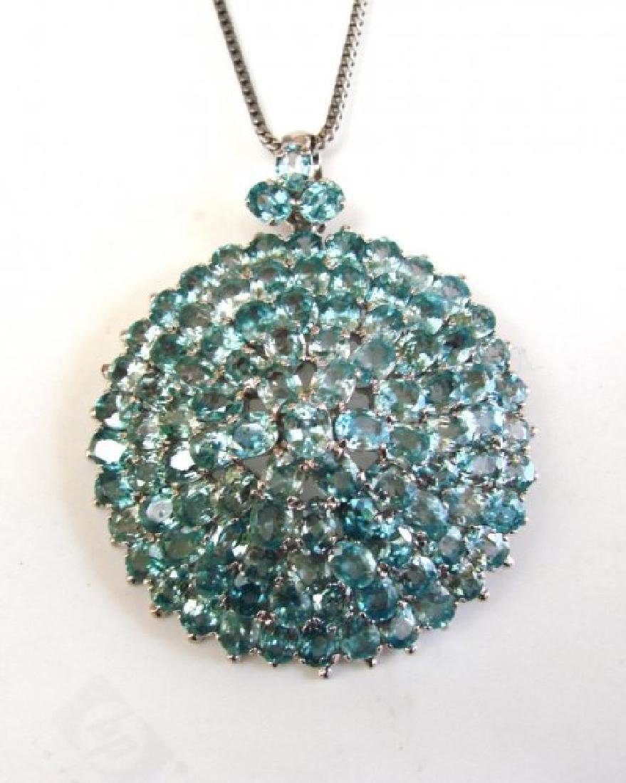 Natural Blue Zircon Pendant 69.30Ct 18k W/G Overlay