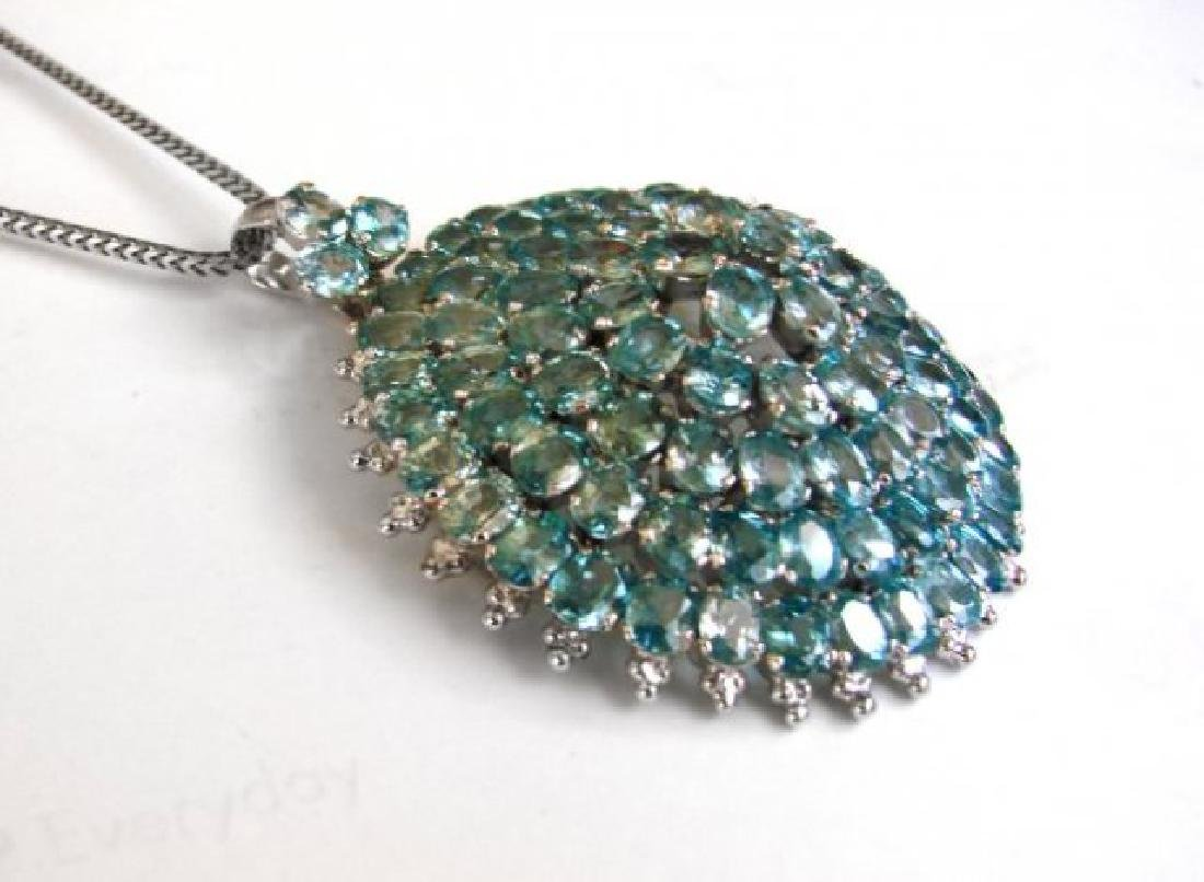 Natural Blue Zircon Pendant 69.30Ct 18k W/G Overlay - 2