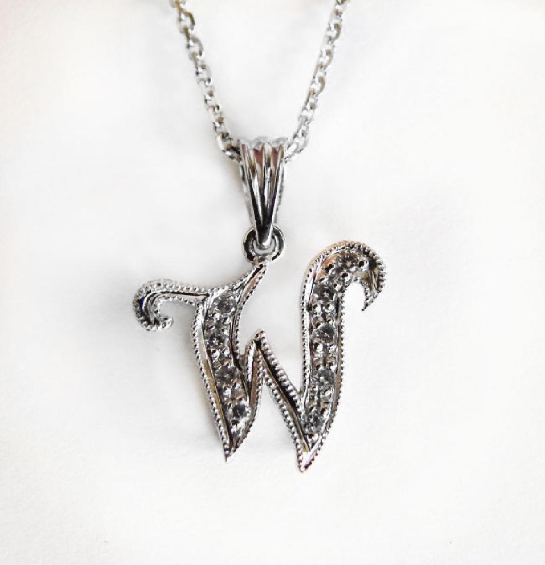 Initial Pendant 'W' Diamond .09Ct 14k W/g