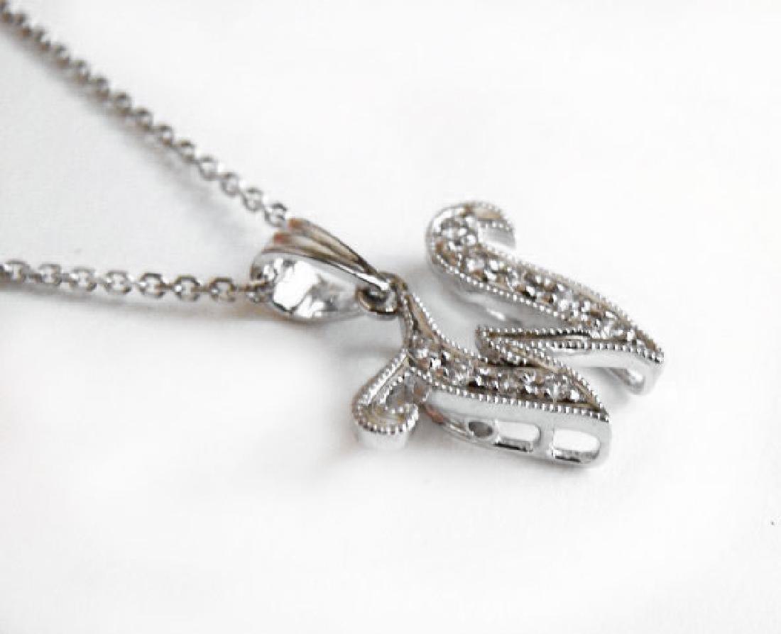 Initial Pendant 'W' Diamond .09Ct 14k W/g - 2