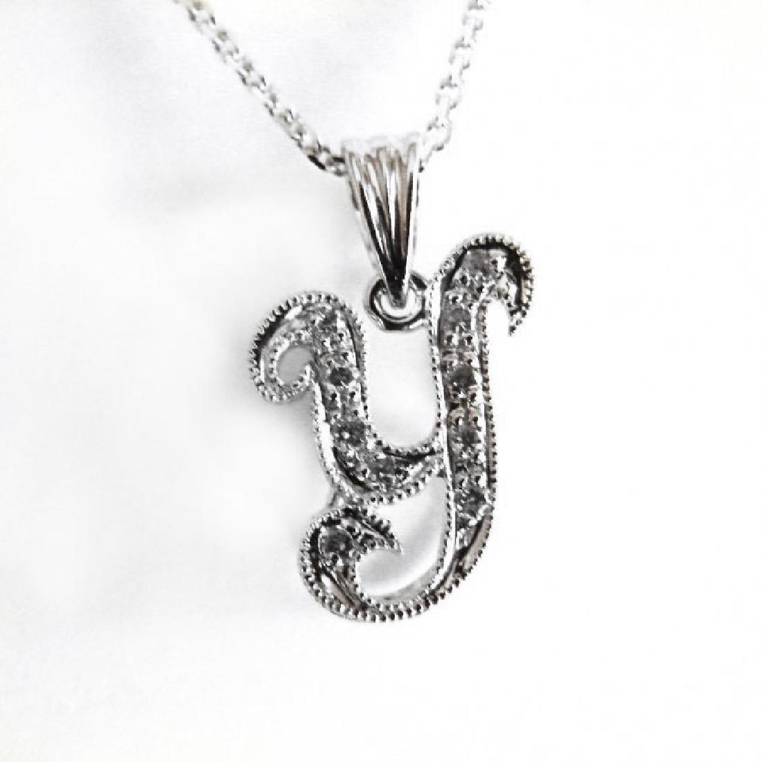 Initial Pendant 'Y' Diamond .10Ct 14k W/g