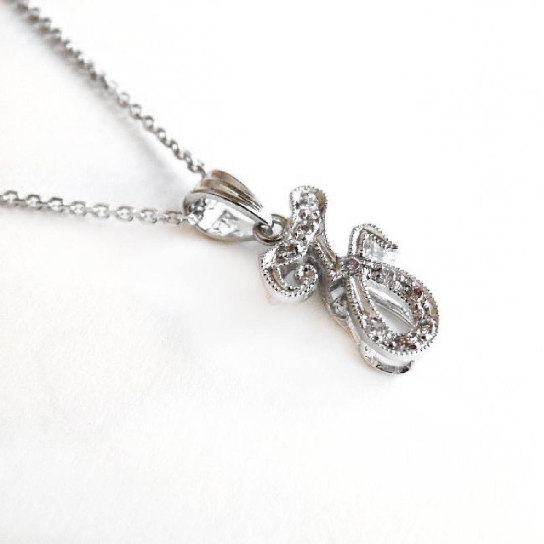 Initial Pendant 'Z' Diamond .09Ct 14k W/g - 2