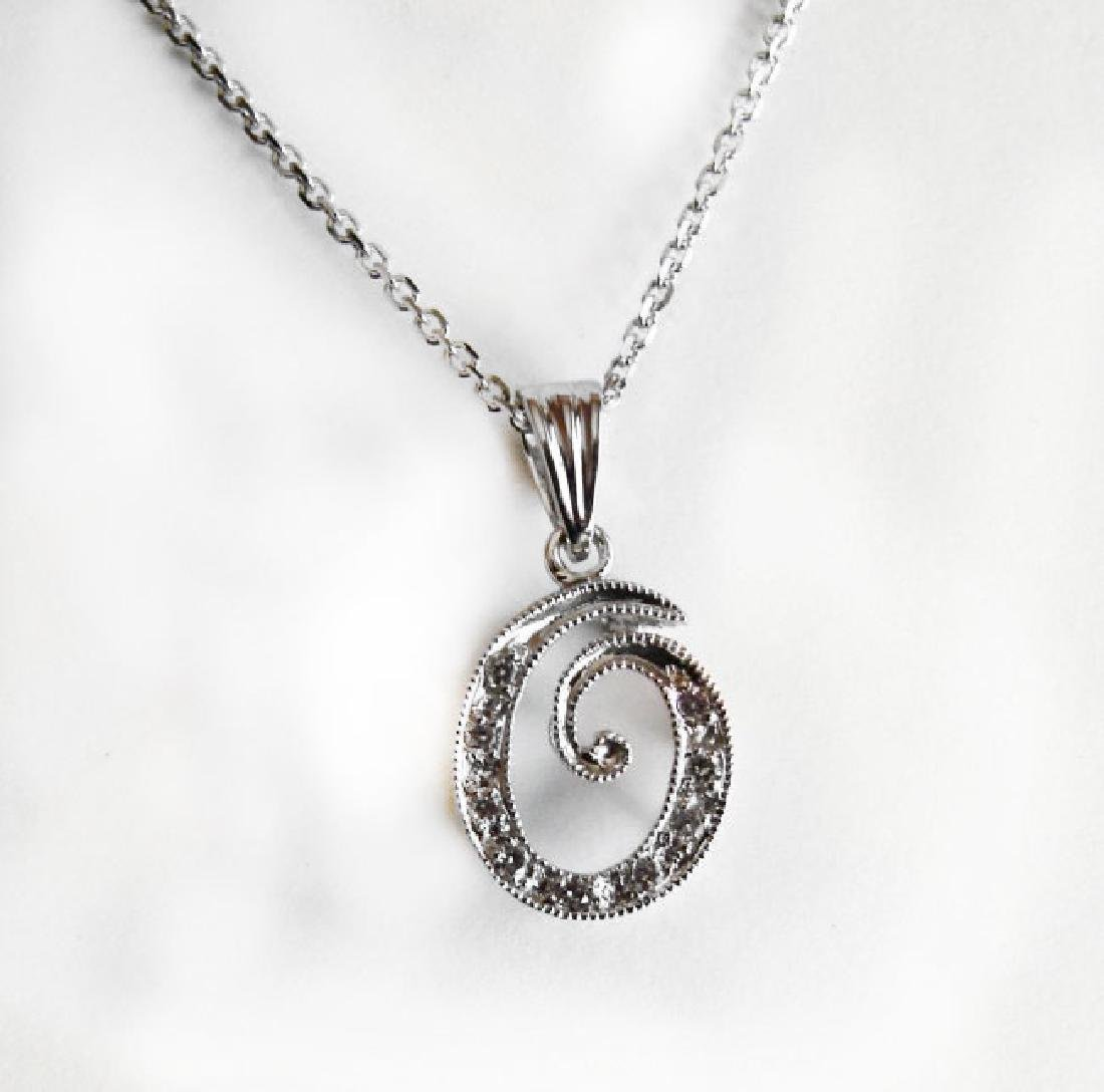 Initial Pendant 'O' Diamond .09Ct 14k W/g