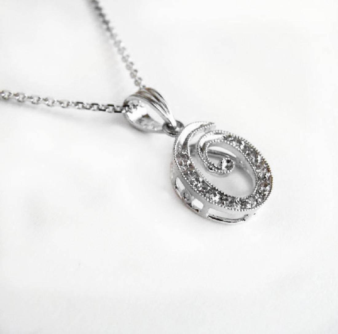 Initial Pendant 'O' Diamond .09Ct 14k W/g - 2