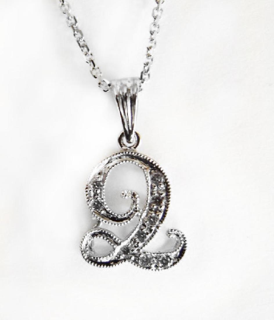 Initial Pendant 'Q' Diamond .09Ct 14k W/g