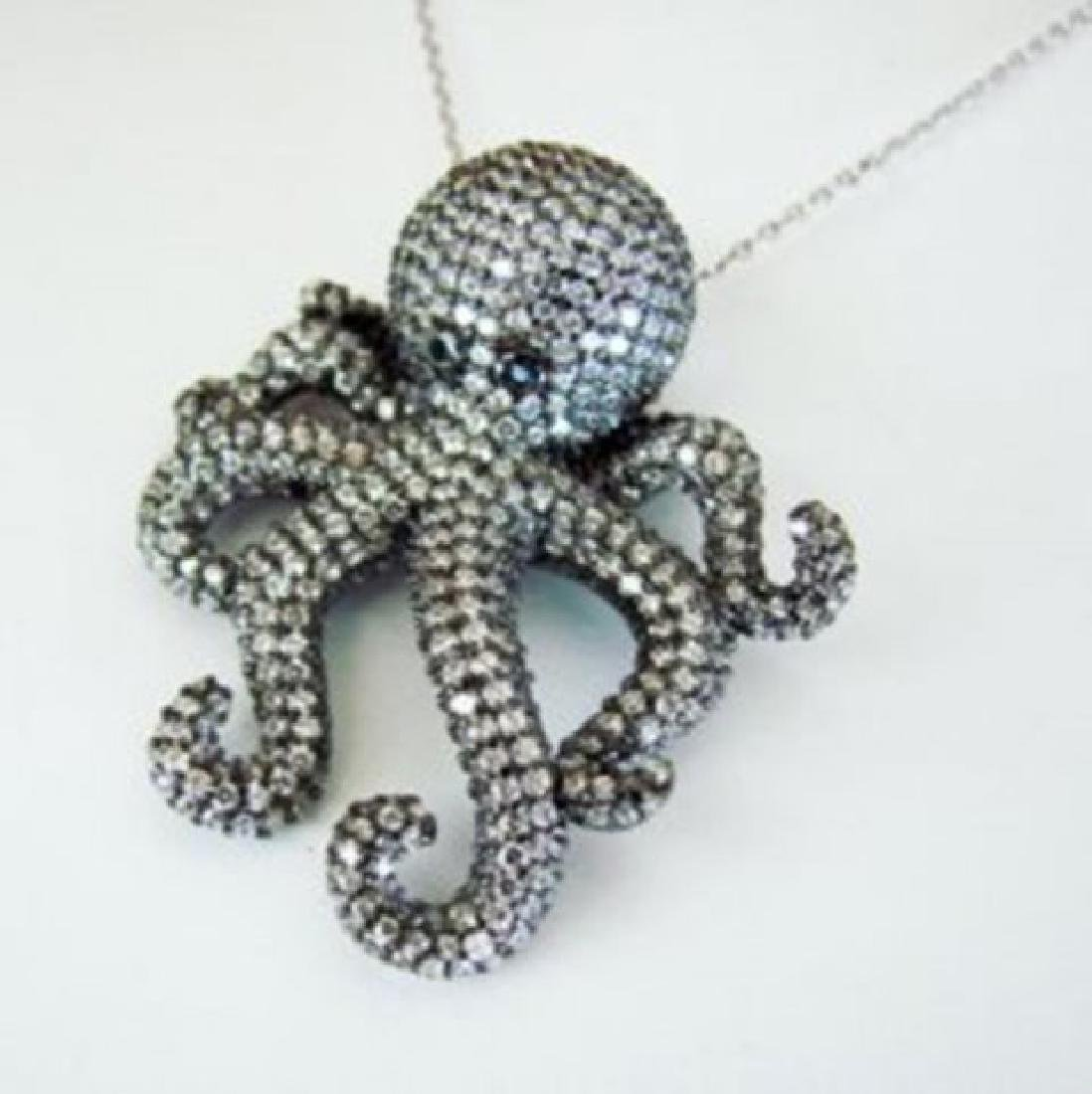 Creation Diamond Octopus Pendant 4.56Ct 18k B/g Overlay