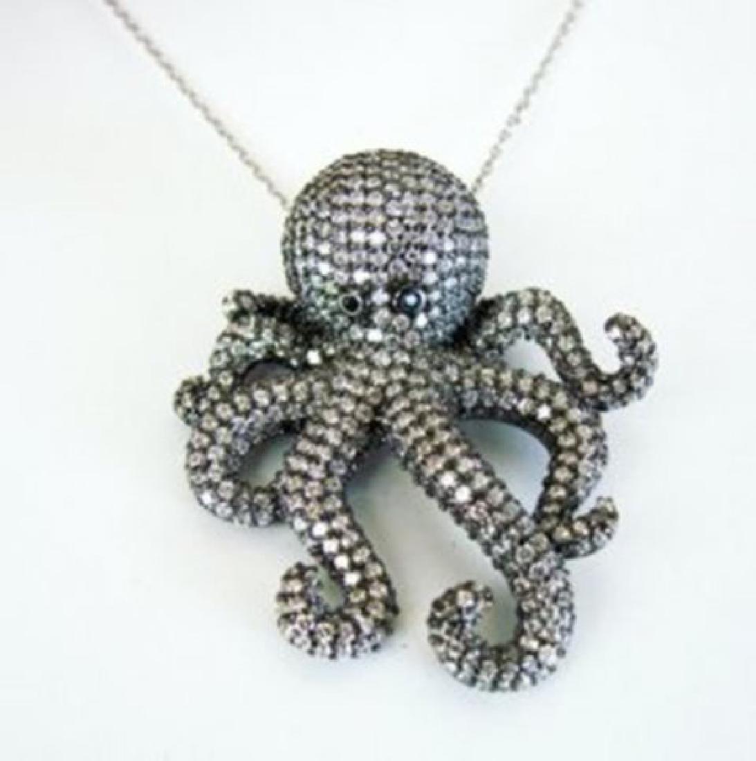 Creation Diamond Octopus Pendant 4.56Ct 18k B/g Overlay - 2