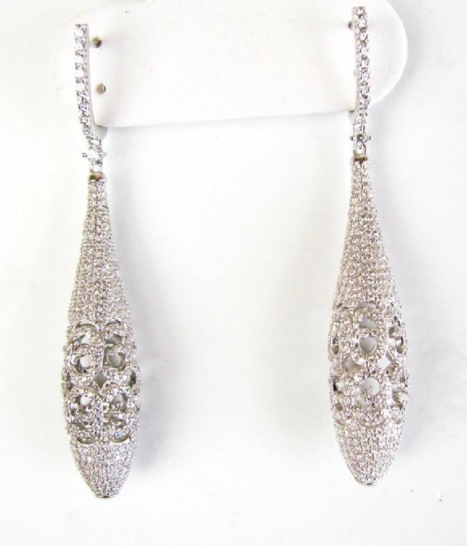 Creation Diamond Earrings Drop 6.30Ct 18k W/G Overlay