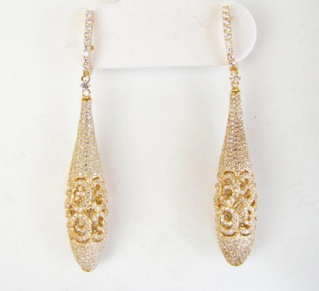 Creation Diamond Earrings Drop 6.30Ct 18k Y/G Overlay