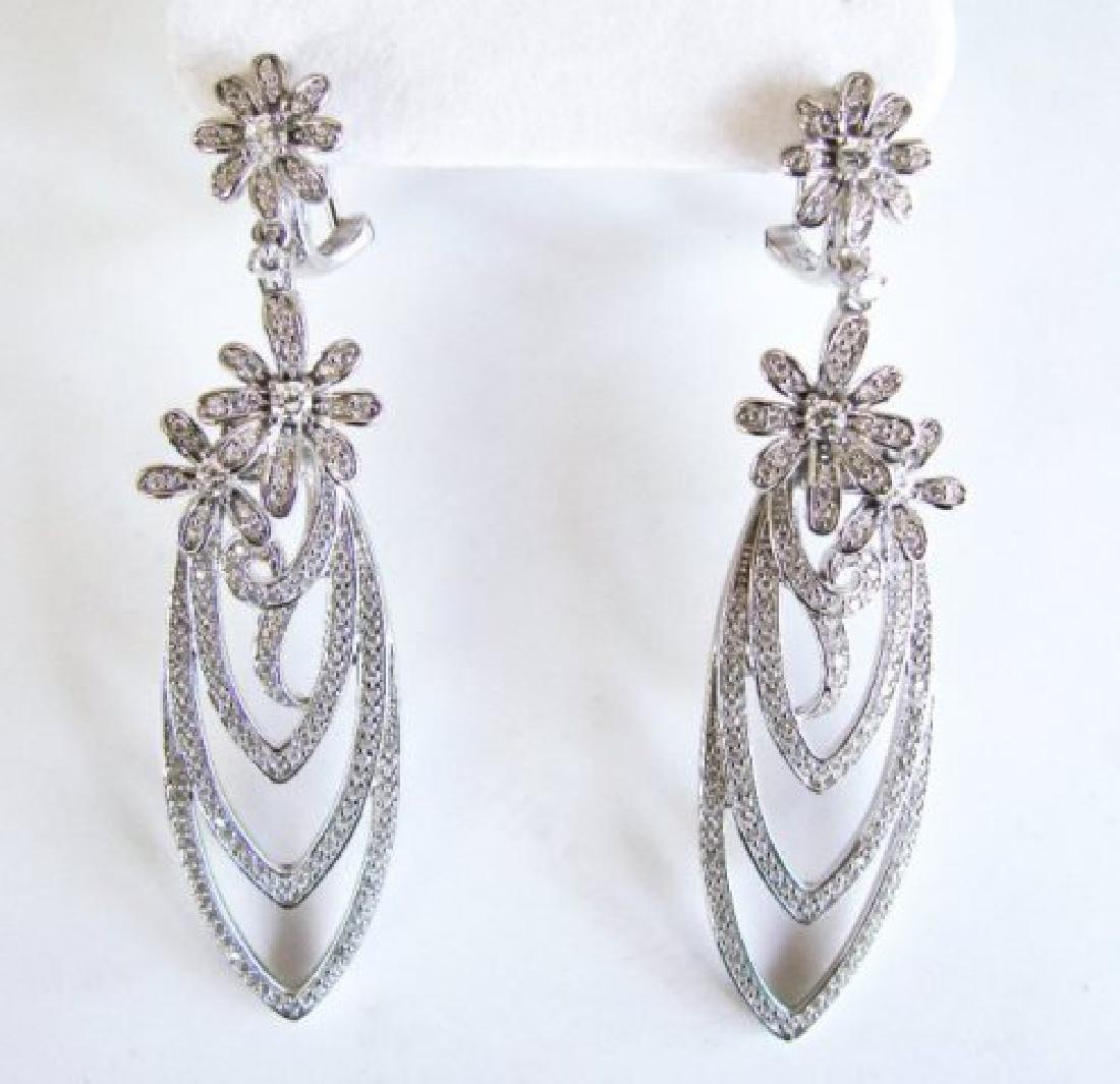 Creation Diamond Earring Chandelier 3.75Ct 18k W/g