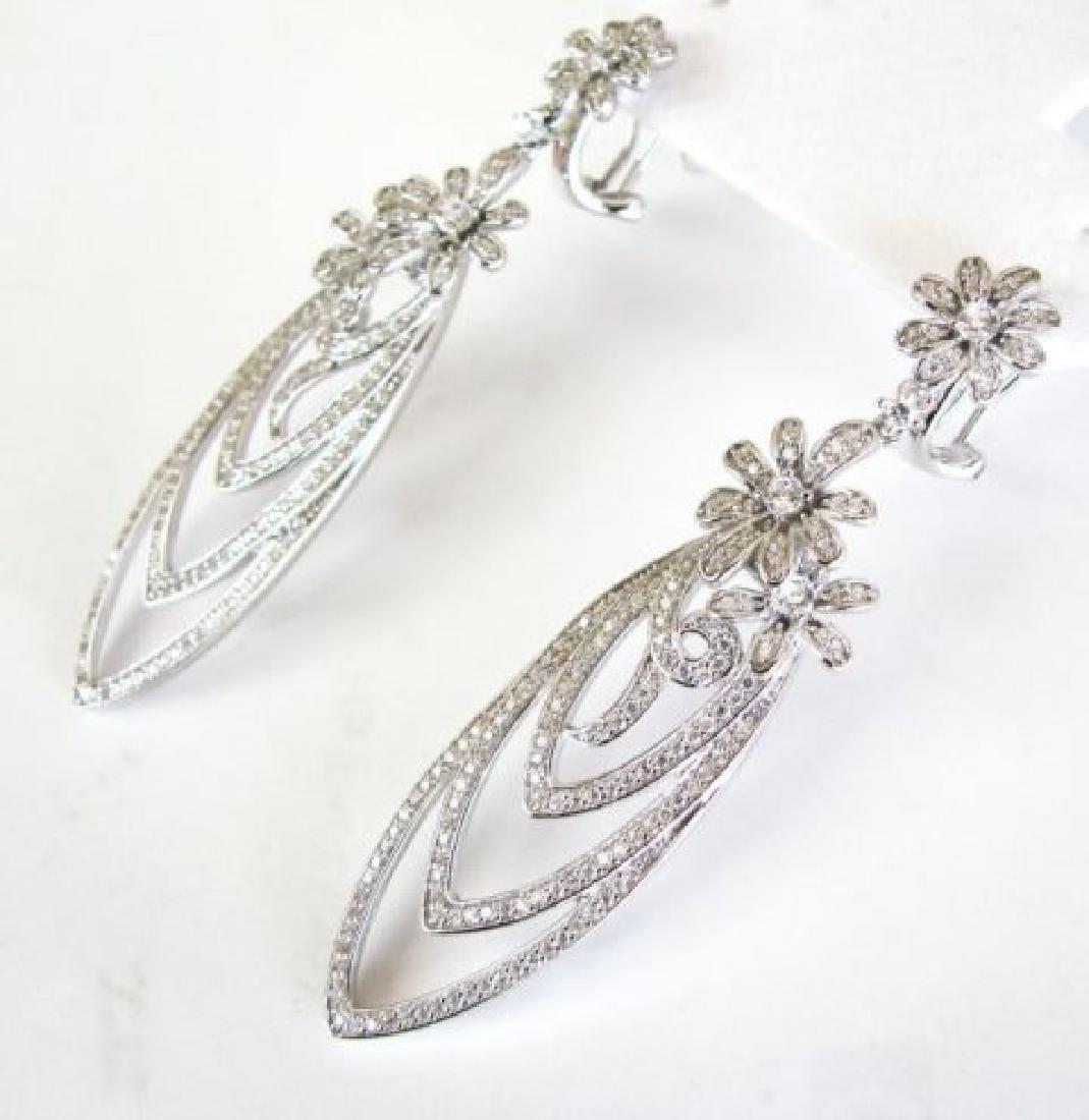 Creation Diamond Earring Chandelier 3.75Ct 18k W/g - 2
