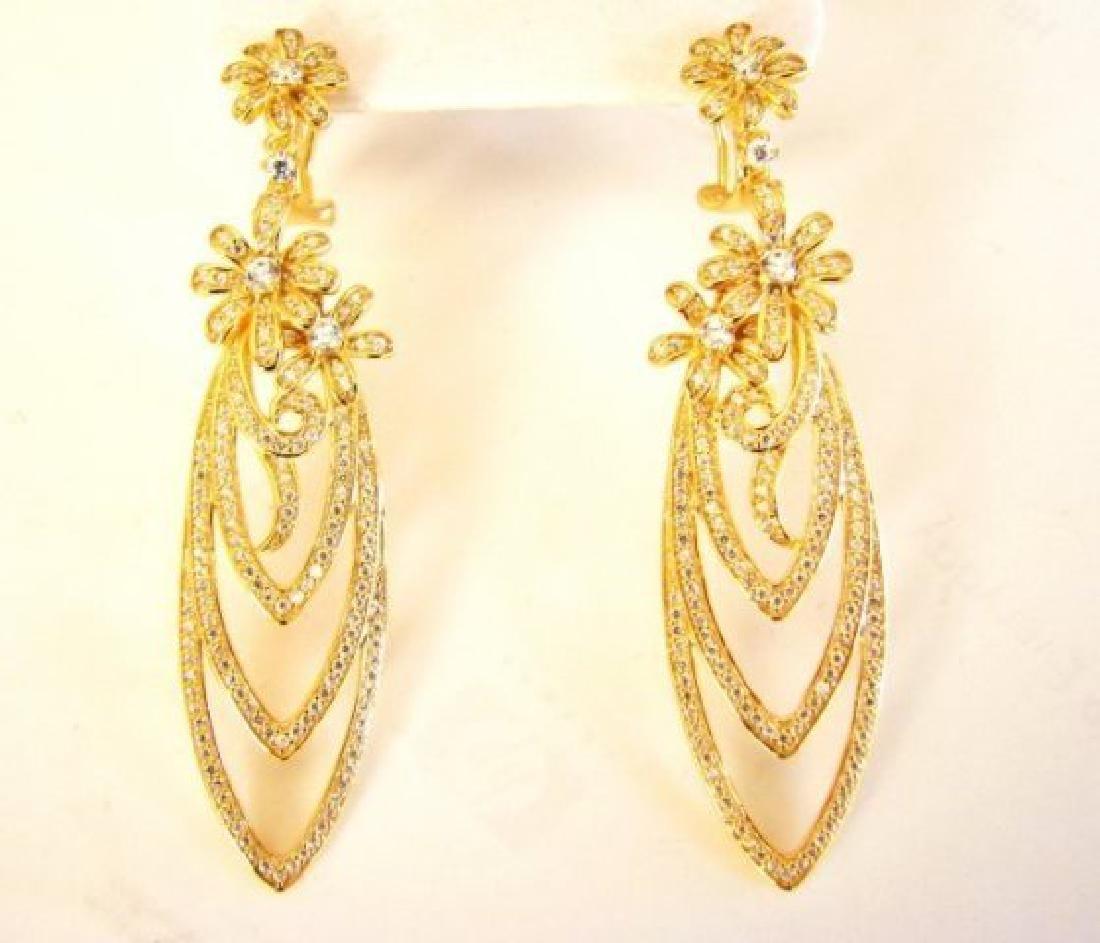 Creation Diamond Earring Chandelier 3.75Ct 18k Y/g