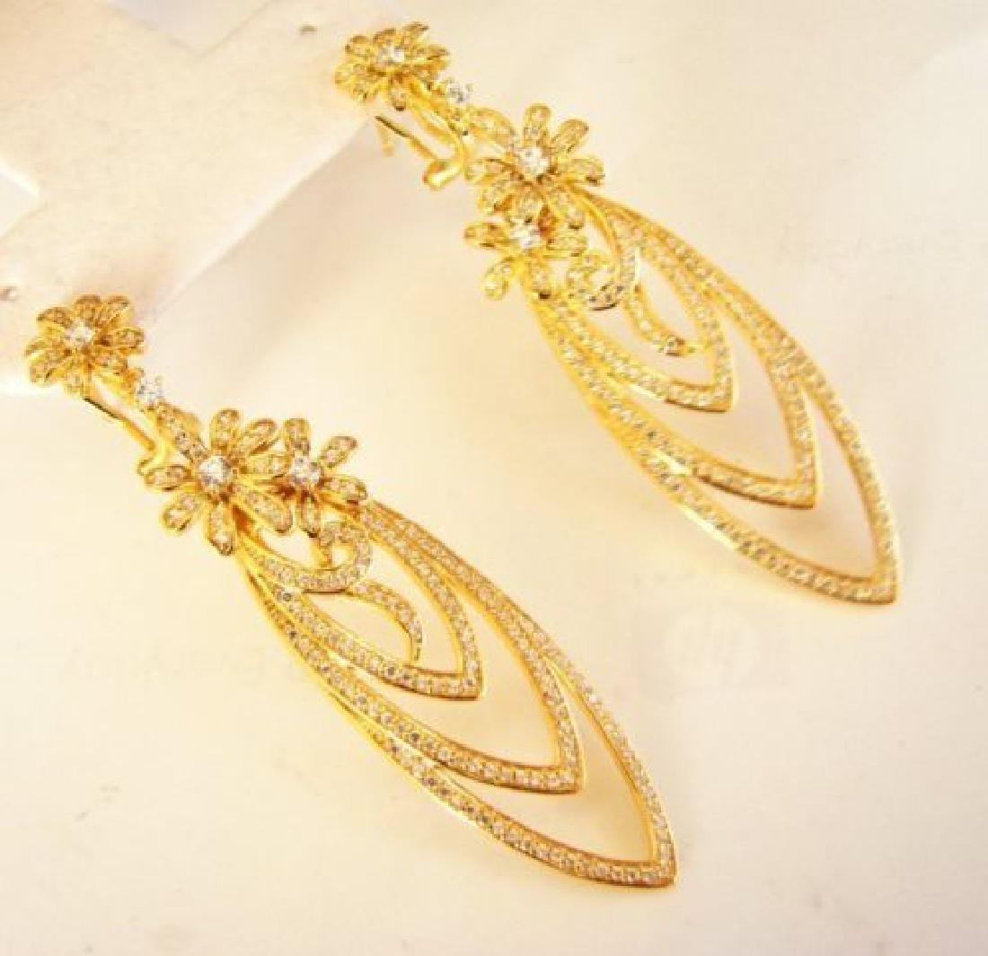 Creation Diamond Earring Chandelier 3.75Ct 18k Y/g - 2