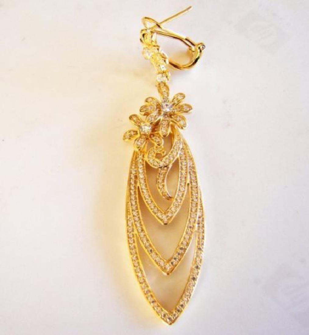 Creation Diamond Earring Chandelier 3.75Ct 18k Y/g - 3