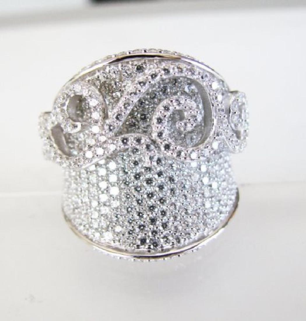 Creation Diamond Antique Ring 3.64Ct 18k W/G Overlay