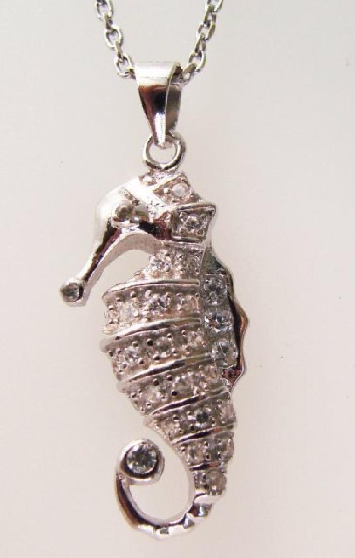 Sea Horse Pendant Creation Diamond .45Ct 18k W/g