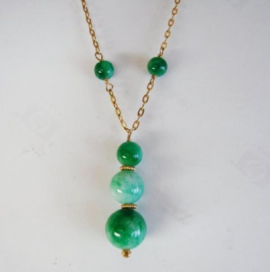 Natural Jadeite Jade Necklace 18k Y/g Filled