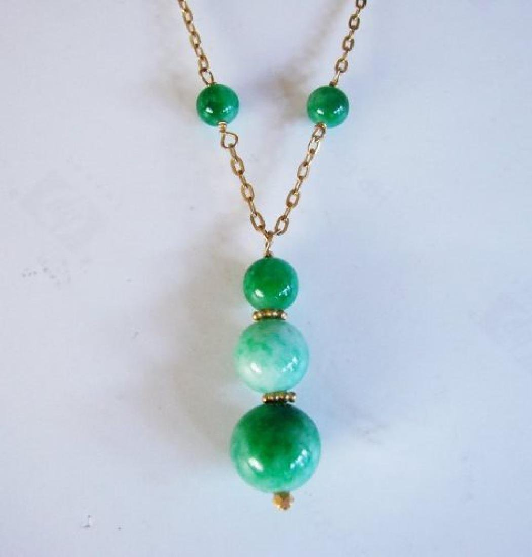 Natural Jadeite Jade Necklace 18k Y/g Filled - 2