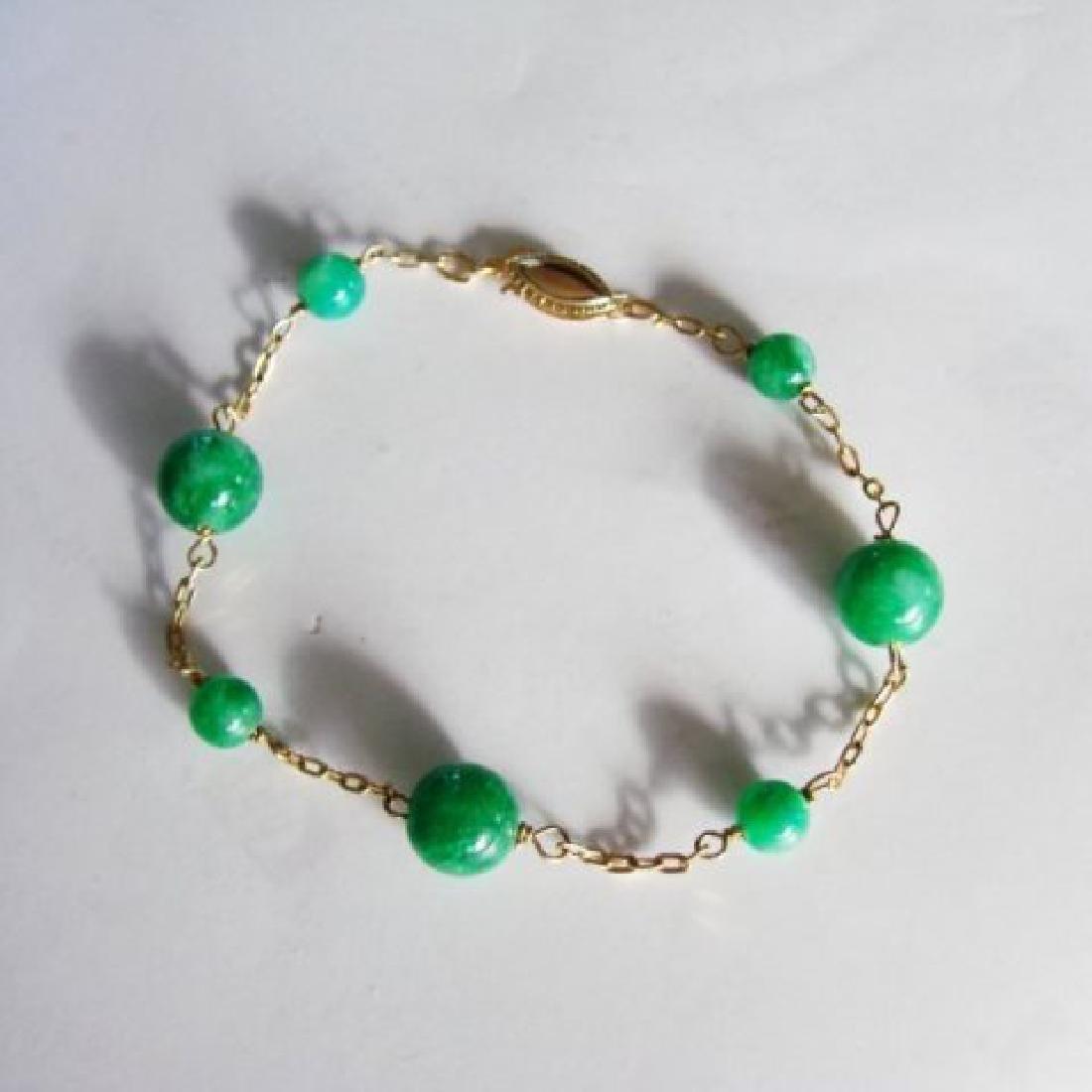 Natural Jadeite Jade Bacelet 18k Y/g Filled
