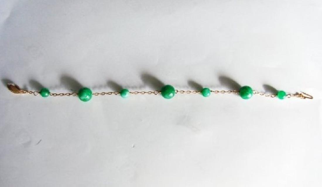 Natural Jadeite Jade Bacelet 18k Y/g Filled - 2