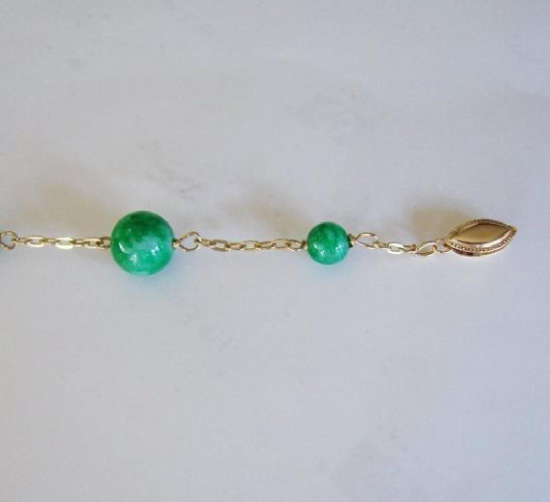Natural Jadeite Jade Bacelet 18k Y/g Filled - 3