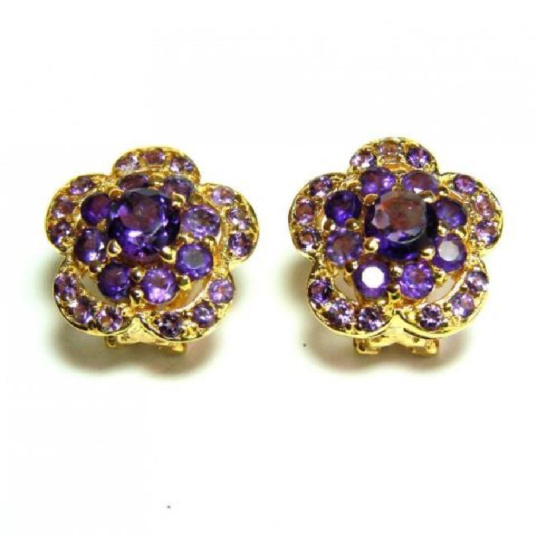 Natural Amethyst Earrings 3.95Ct 18k Y/g Overlay