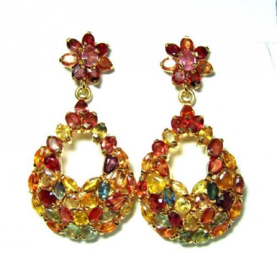 Natural Sapphire Multi Earrings 24.18Ct 18k Y/g Overlay