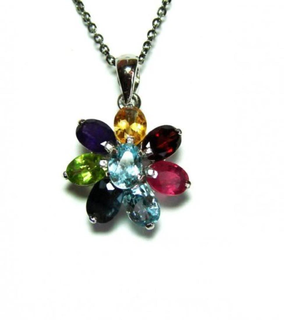 Natural Multicolor Pendant 9.20Ct 18k W/g Overlay