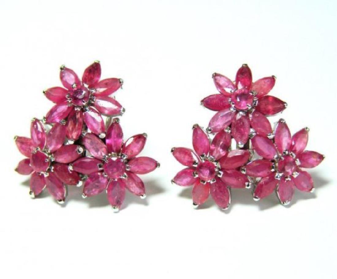 Natural Ruby Earrings 11.08Ct18k W/g Overlay