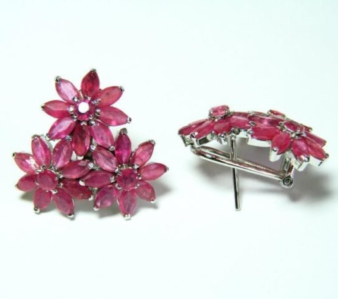 Natural Ruby Earrings 11.08Ct18k W/g Overlay - 2