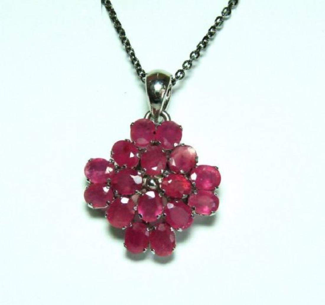 Natural Ruby Pendant 8.64Ct18k W/g Overlay