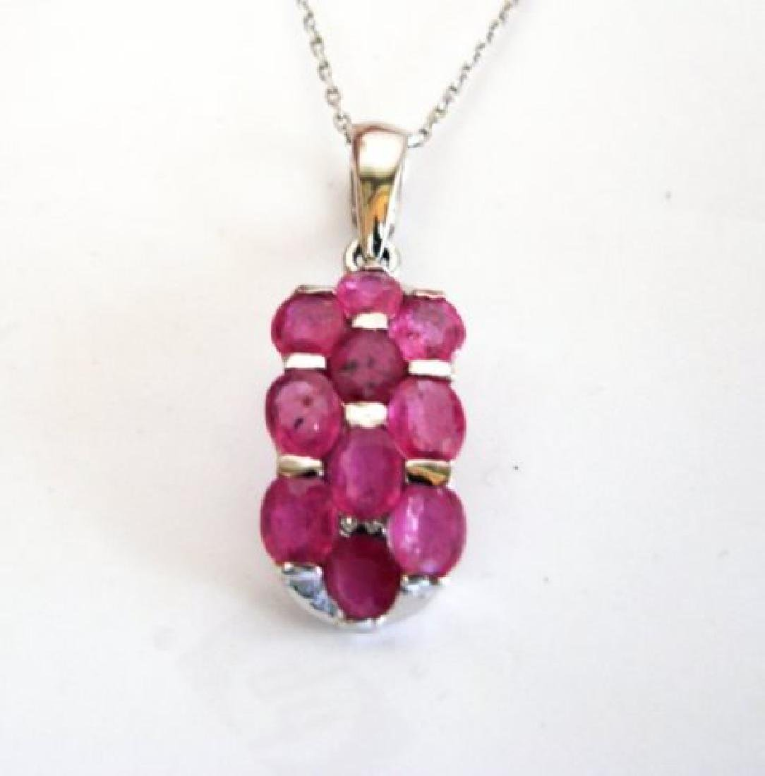 Natural Ruby Pendant 8.10Ct 18k W/g Overlay