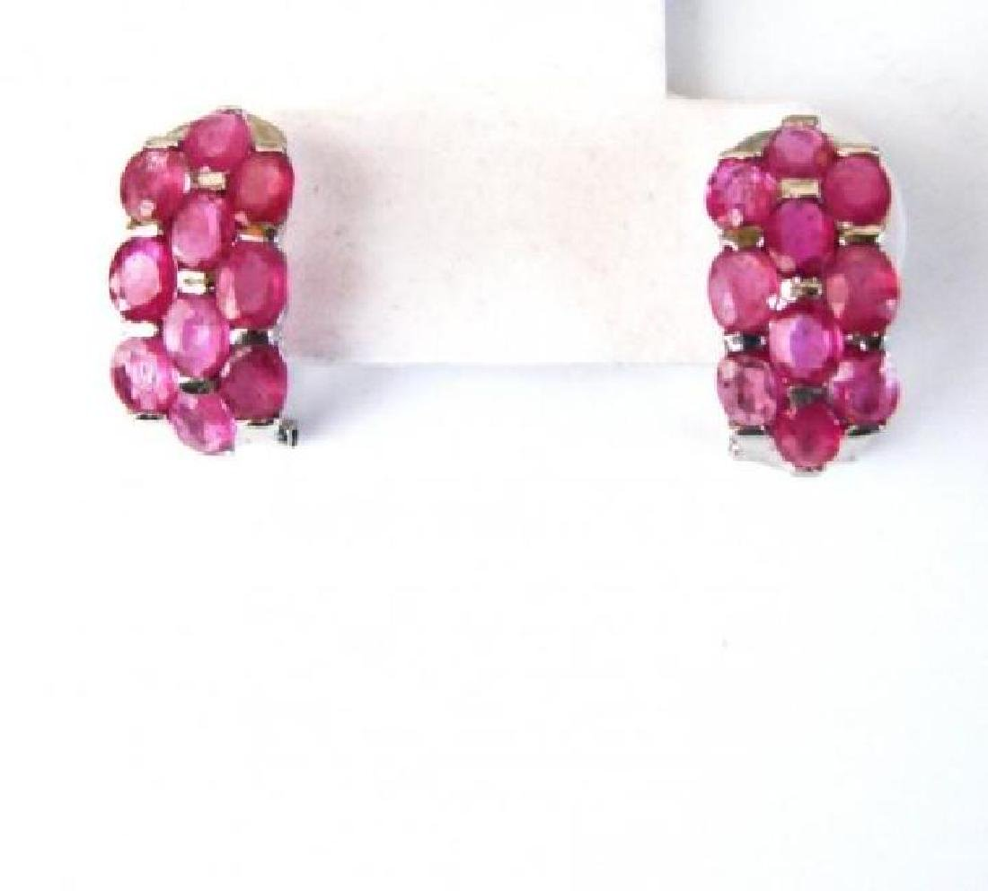 Natural Ruby Earrings 16.22Ct18k W/g Overlay
