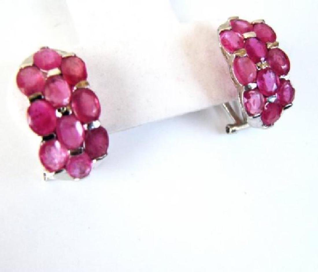Natural Ruby Earrings 16.22Ct18k W/g Overlay - 2