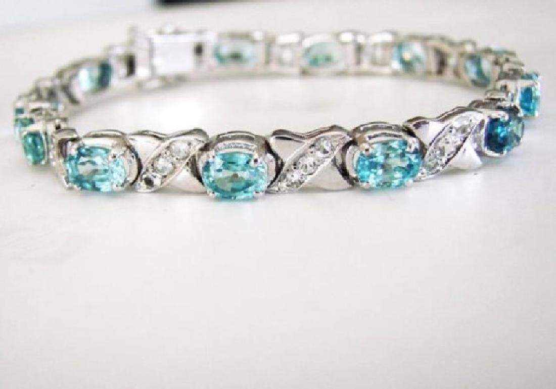 Natural Blue Zircon Bracelet 20.02Ct 18k W/g Over - 2