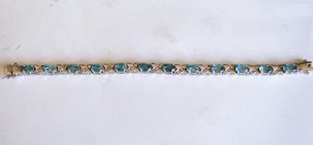 Natural Blue Zircon Bracelet 20.02Ct 18k W/g Over - 3