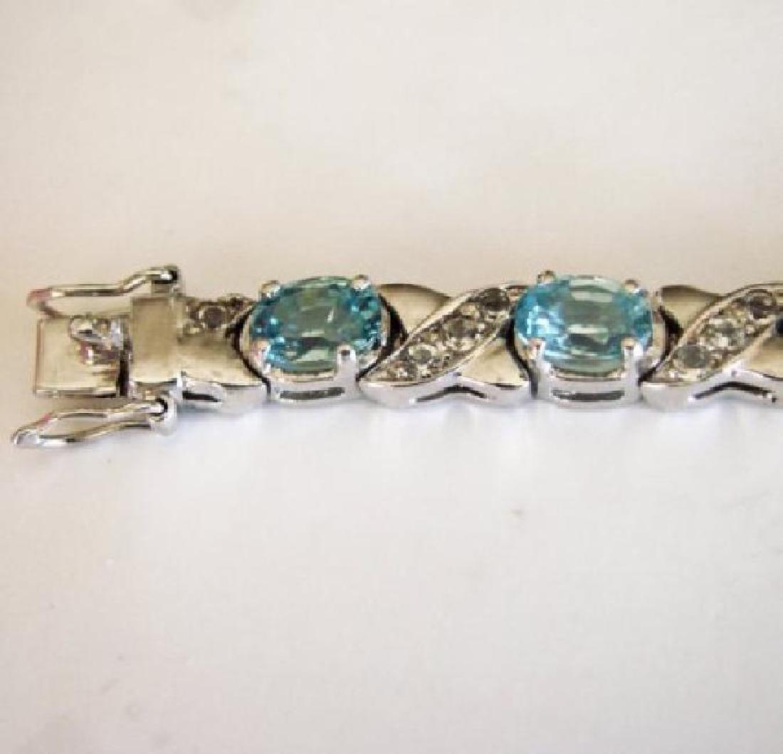 Natural Blue Zircon Bracelet 20.02Ct 18k W/g Over - 4