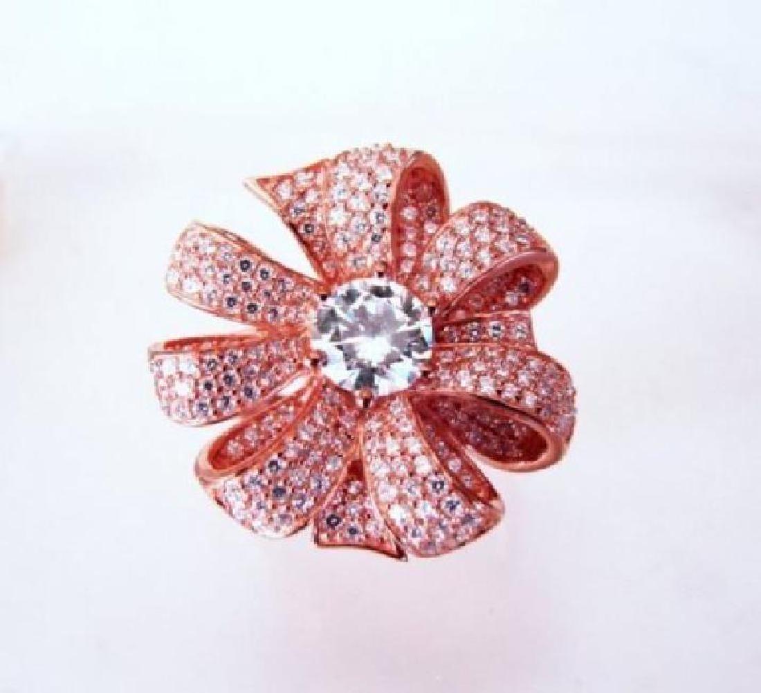 Creation Diamond Ring 2.24Ct 18k R/g Overlay