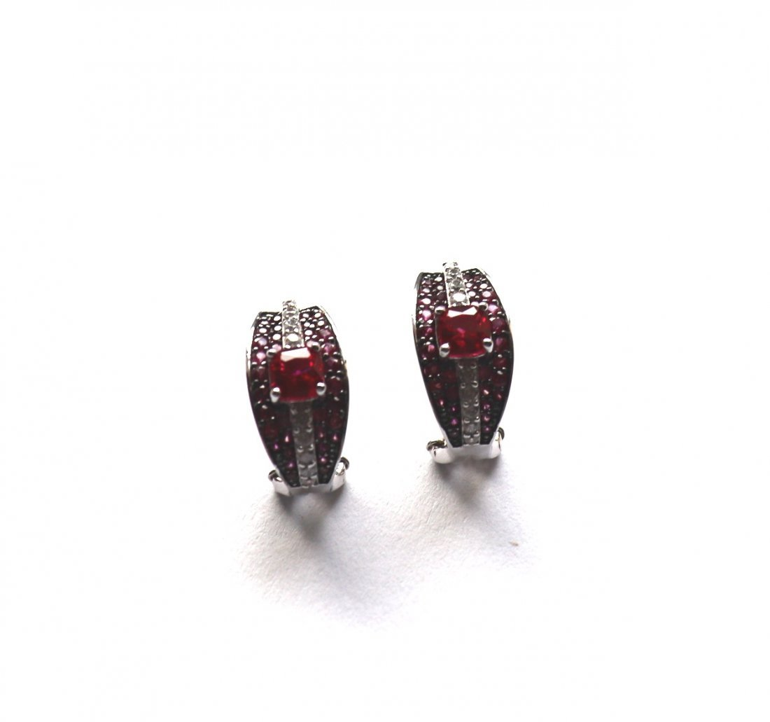 Creation Dia/Ruby Earrings 7.50Ct 18k W/g Overlay