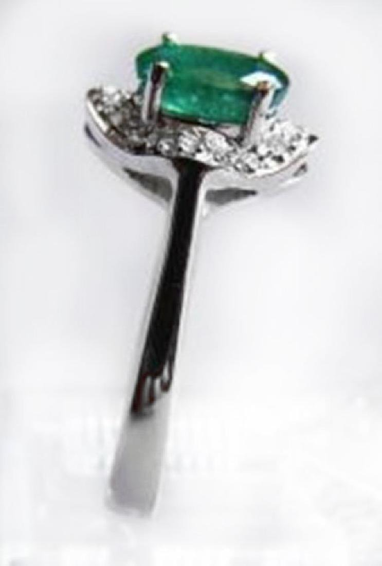 Ring Natural Columbia Emerald Diamond 1.25Ct 14k W/g - 2