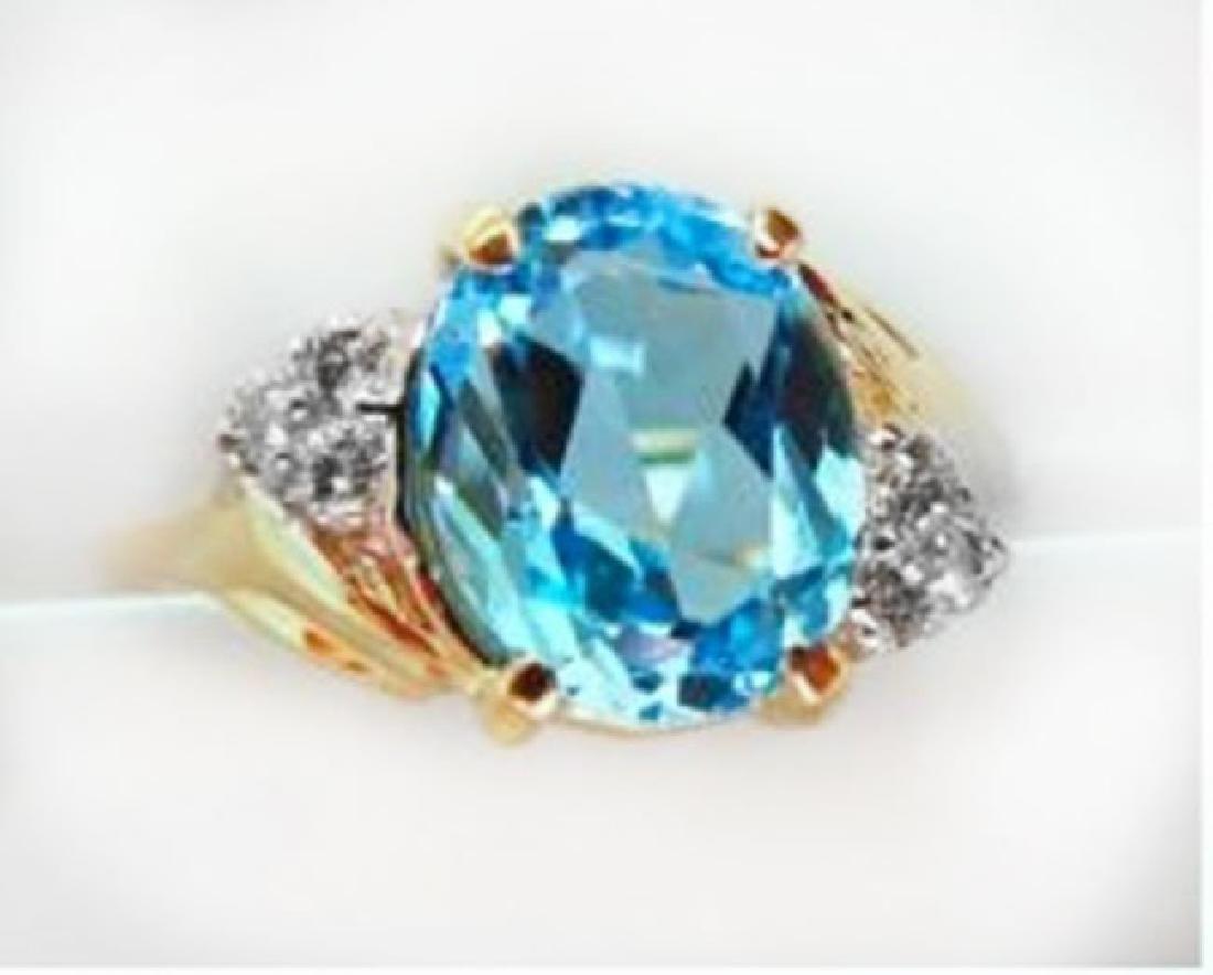 Ring Natural Blue Topaz Diamond 3.70Ct 14k Y/g