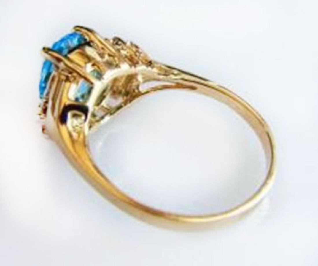 Ring Natural Blue Topaz Diamond 3.70Ct 14k Y/g - 2