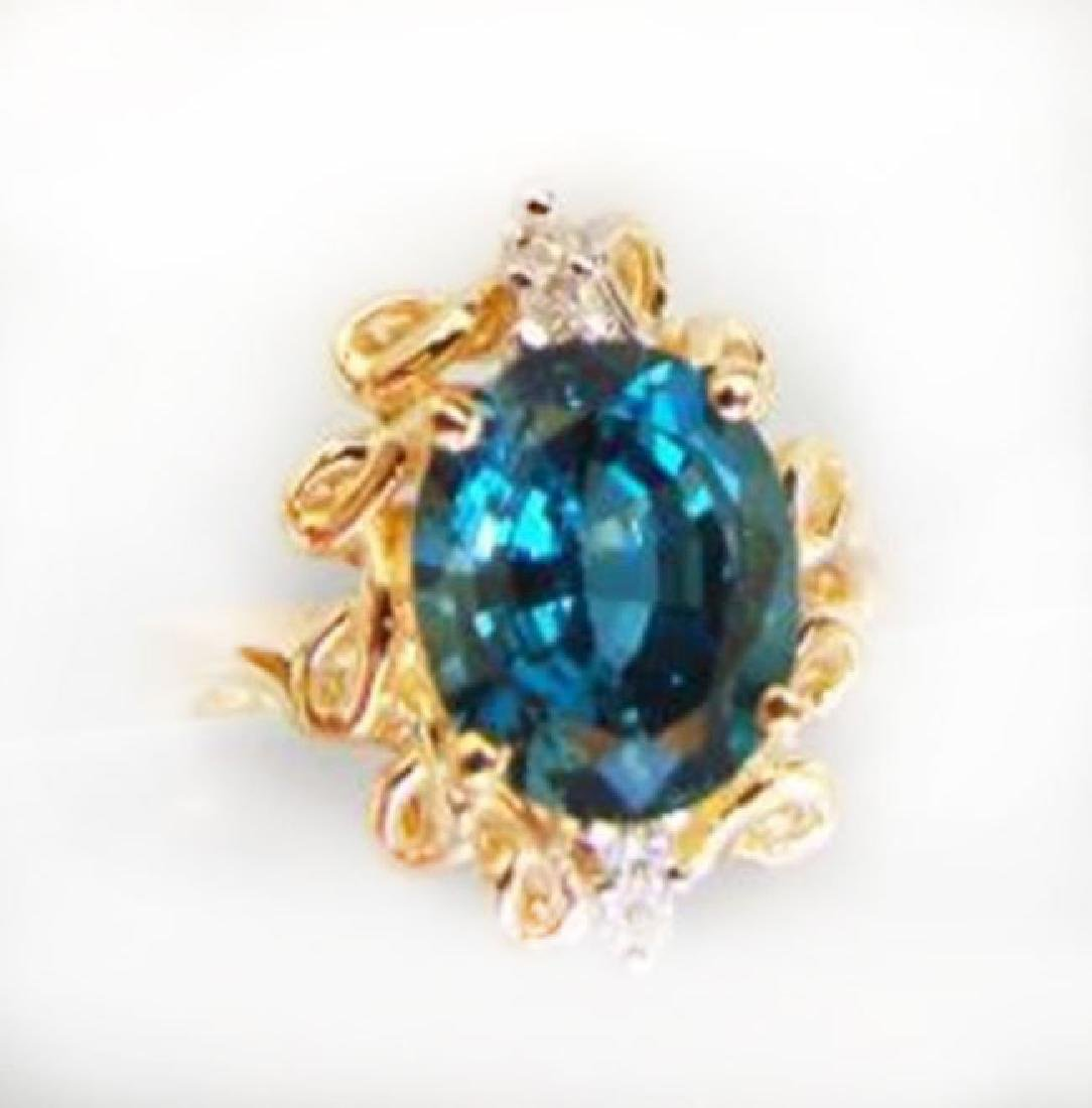 Ring Natural London Blue Topaz Diamond 3.64Ct 14k Y/g