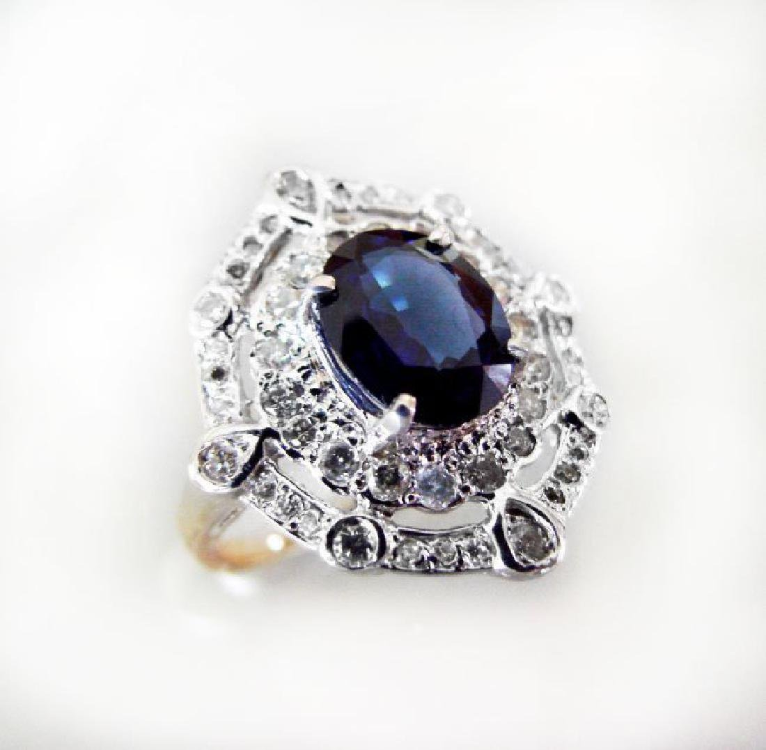 Ring Natural Blue Sapphire Diamond 4.26Ct 14k Y/g - 2