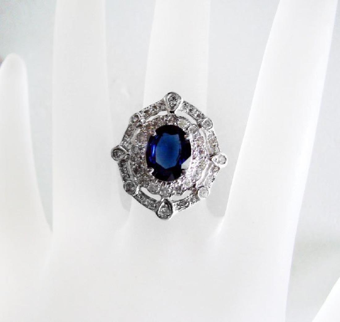 Ring Natural Blue Sapphire Diamond 4.26Ct 14k Y/g - 3