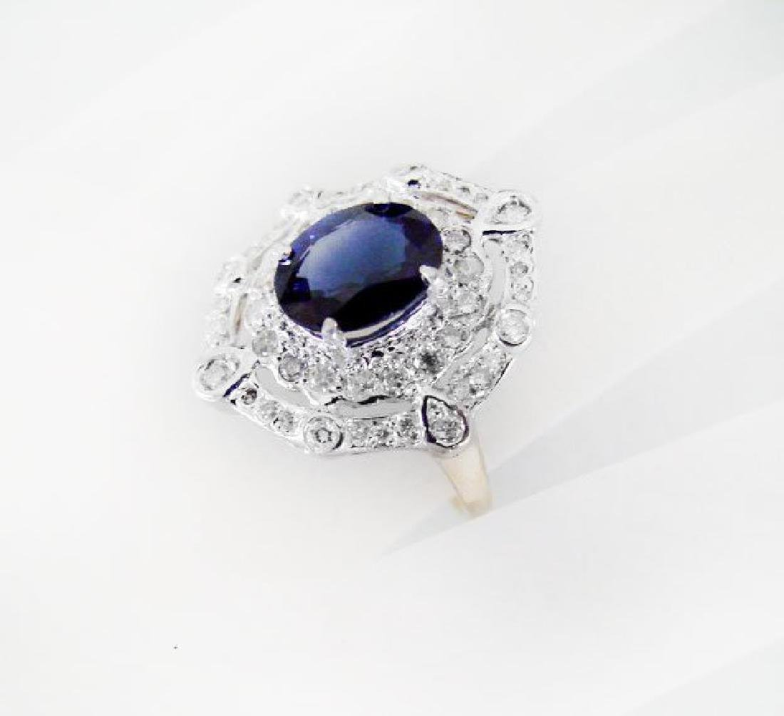 Ring Natural Blue Sapphire Diamond 4.26Ct 14k Y/g - 4