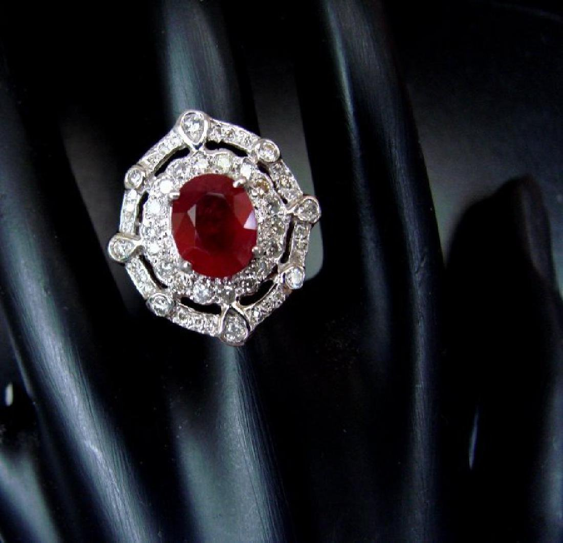 Ring Natural Ruby Diamond 5.61Ct 14k Y/g - 2