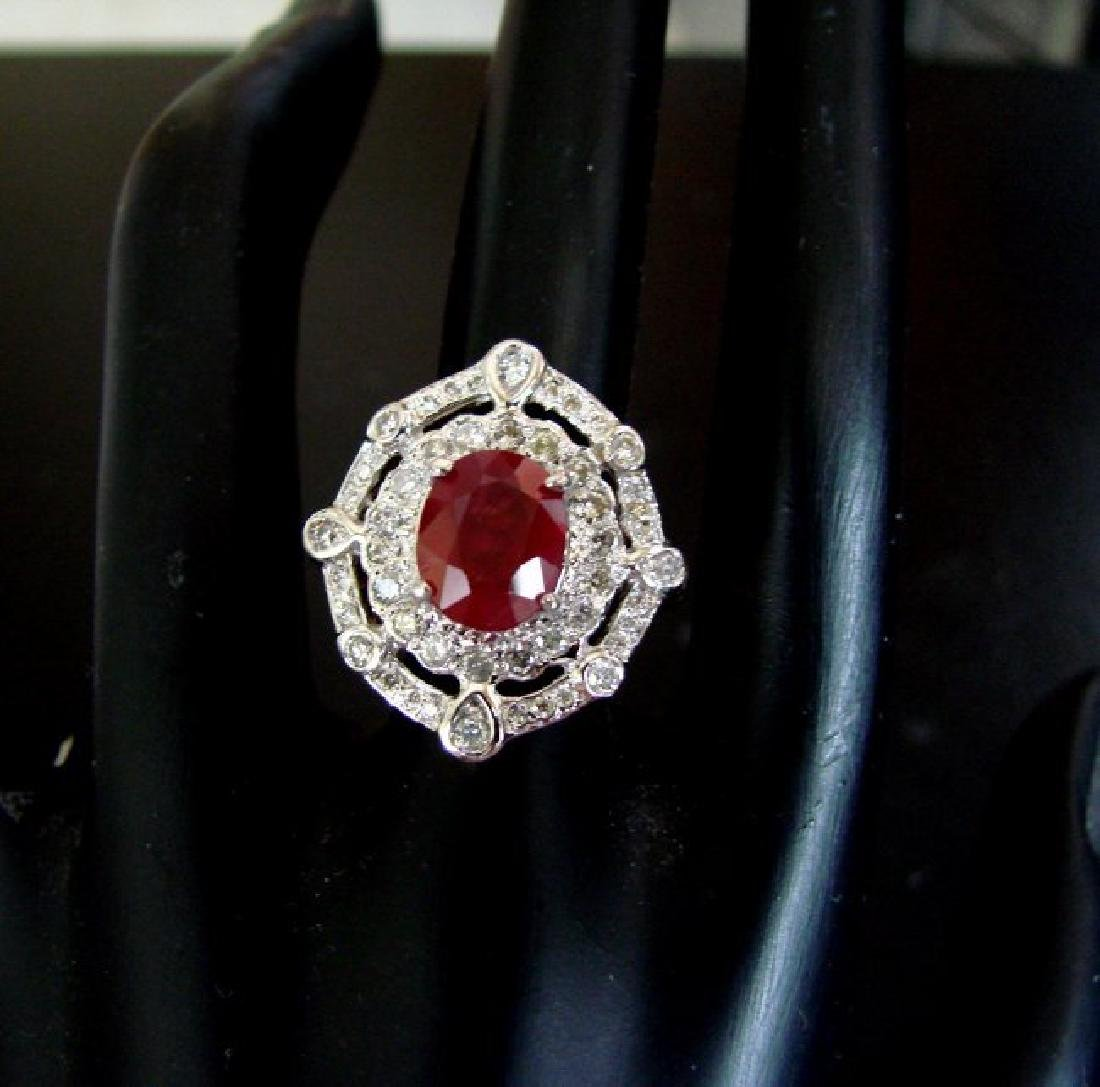 Ring Natural Ruby Diamond 5.61Ct 14k Y/g - 3