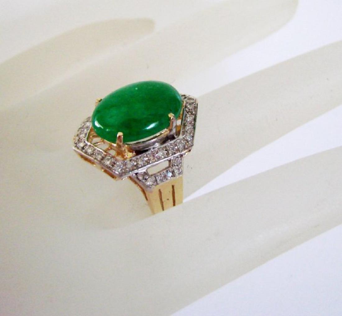 Natural Diamond- Jadeite Jade Ring 4.72Ct 18k Y/g - 4